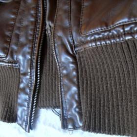 Amisu hnědá kožená bunda - foto č. 1
