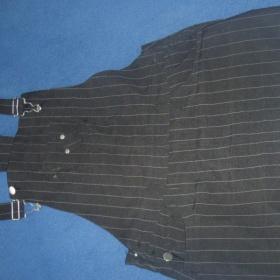 Sukně s laclem černá s bílym proužkem - foto č. 1