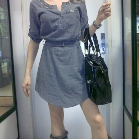 Reserved šaty šedé/přírodní - foto č. 1